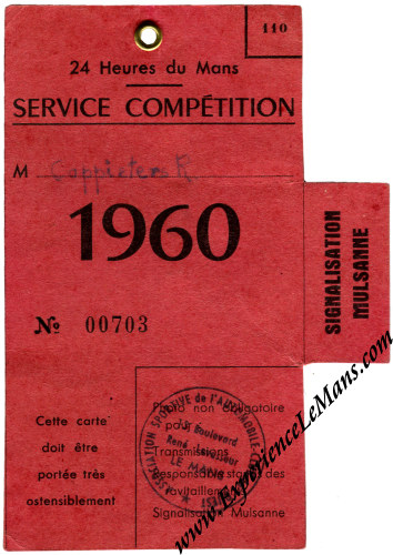 Vintage 1960 24 Hours of Le Mans Mulsanne Signalling Post Ticket Stub